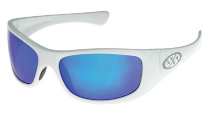 Super Safety JAM Safety Glasses - White Frame Blue Mirror Lens