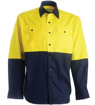Cotton Drill Work Shirt - Long Sleeve - Yellow/Navy