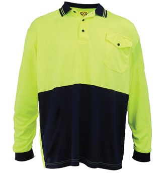 HiViz Polo Shirt - Long Sleeve - Yellow / Navy