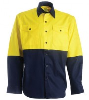 Cotton Drill Work Shirt - Long Sleeve - Yellow/Navy