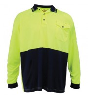 HiViz Polo Shirt - Long Sleeve - Yellow / Navy
