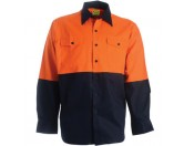 Cotton Drill Work Shirt - Long Sleeve - Orange/Navy