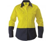 Ladies Cotton Drill Work Shirt - Long Sleeve - Yellow/Navy