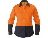 Ladies Cotton Drill Work Shirt - Long Sleeve - Orange/Navy