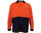 HiViz Polo Shirt - Long Sleeve - Orange / Navy