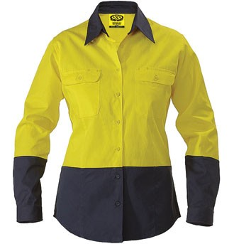 Ladies Cotton Drill Work Shirt - Long Sleeve - Yellow/Navy