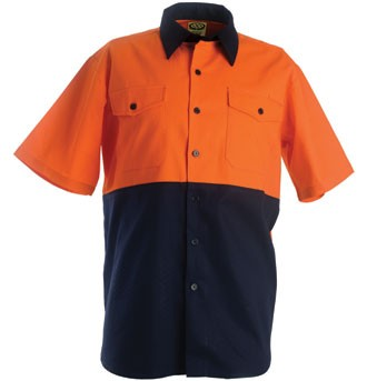Cotton Drill Work Shirt - Short Sleeve - Orange/Navy