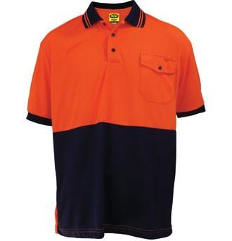 HiViz Polo Shirt - Short Sleeve - Orange / Navy