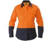 Ladies Cotton Drill Work Shirt - Long Sleeve - Orange/Navy