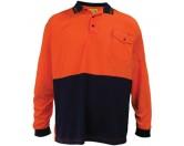 HiViz Polo Shirt - Long Sleeve - Orange / Navy